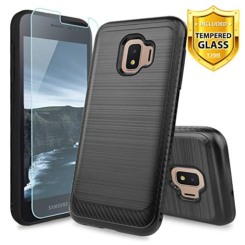 Checkers Protector Case (TJS Case Compatible for Samsung Galaxy J2 Core/Galaxy J2 2019/Galaxy J2 Pure, with [Tempered Glass Screen Protector] Hybrid Shockproof Resist Phone Metallic Brush Finish Hard Inner Layer (Black))