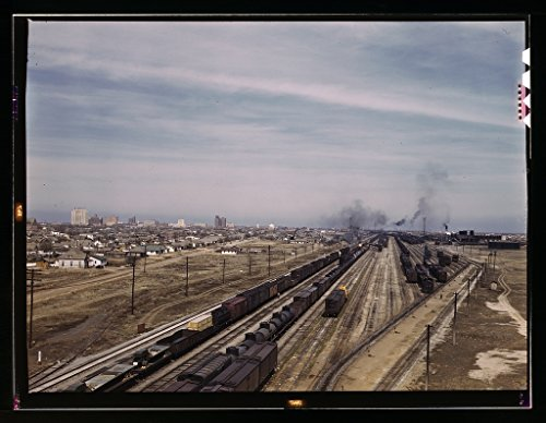Vintography Reproduced Photo of General View of The City and The Atchison, Topeka, and Santa Fe Railroad, Amarillo, Texas. Santa Fe R.R. Trip 1943 Delano C Jack 05a ()
