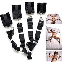 Extra-Strength Bed Restraints Thick Plush Cuffs Bedroom Bundled Bondage Toys Black