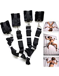 Extra-Strength Bed Restraints Thick Plush Cuffs Bedroom Bundled Bondage Toys Black