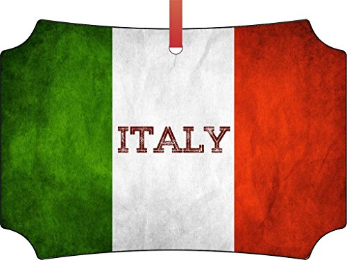 Italy Grunge Flag-Double-Sided Berlin Shaped Flat Aluminum Christmas Holiday Hanging Tree Ornament with a Red Satin Ribbon. Made in the USA!
