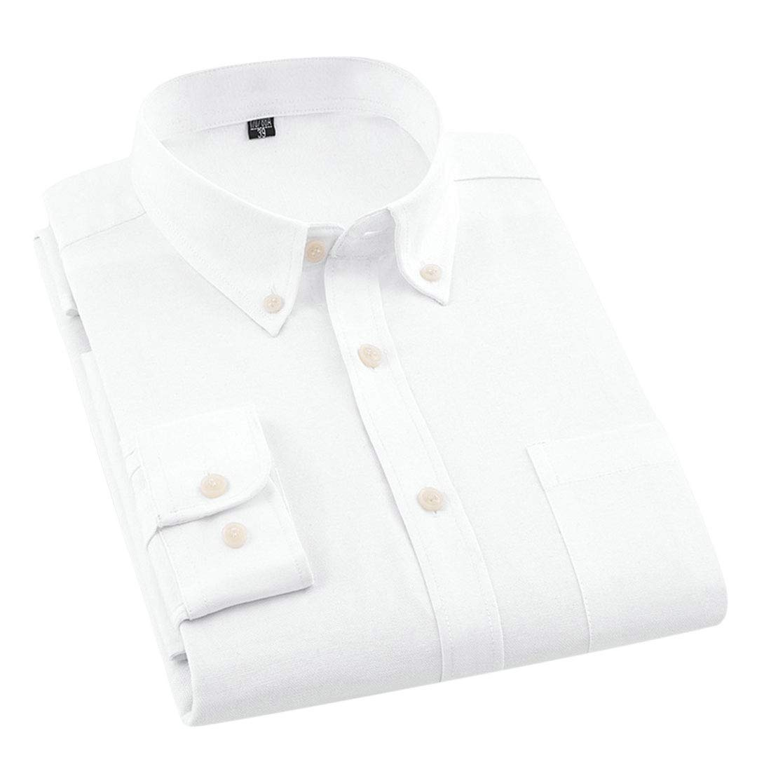 X-Future Mens Long Sleeve Pure Color Lapel Neck Business Slim Fit Button Down Dress Shirt