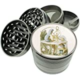 "Alice In Wonderland Tenniel Hookah Titanium 4 PC Magnetic Grinder 2.1"" Hand Mueller D-283"