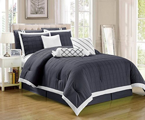 Legacy California King Comforter (Legacy Decor 9 pc Pleated Microfiber Comforter Set, Dark Grey and White Color, California King Size)