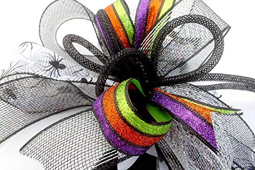 Whimsical Halloween spider bow for wreaths, mantle bow, lantern bows, holiday bows, ribbons, wedding bows, holiday decor, Halloween decor -