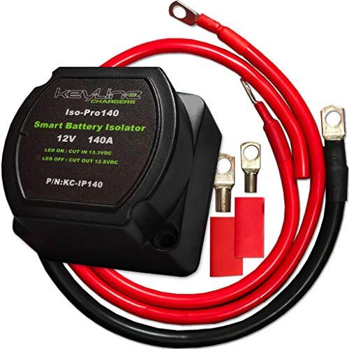 12V 140 Amp Dual Battery Smart Isolator & ATV UTV Wiring Kit by KeyLine Chargers - Voltage Sensitive Relay - VSR