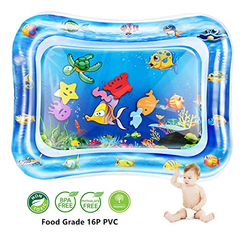 QPAU Tummy Time Baby Water Mat, Baby Toys for 3 6 9 Months, The Perfect Tummy Time Toy for Infant Early Development Activity Centers Your Baby's Stimulation Growth (Games To Play With 4 Month Old)