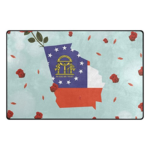Georgia Flag Rose Area Rug Carpet Non-Slip Floor Mat Doormats for Living Room Bedroom