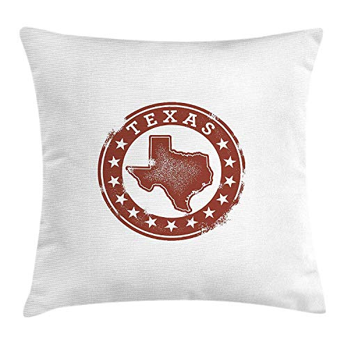 - Queolszi Texas Throw Pillow Cushion Cover, Classical Rubber Stamp of Western Cowboy Country State Map Stars Dallas Houston, Decorative Square Accent Pillow Case, 18 X 18 inches, Cinnamon White
