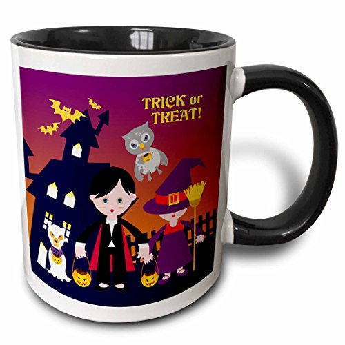 3dRose Belinha Fernandes - Halloween Celebration - Trick or treat message and dog ghost with kids dressed up in dracula and witch costumes - 15oz Two-Tone Black Mug -