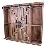Wooden Wall Mount Decorative Rustic Farmhouse Storage Cabinet & Bookshelf with Sliding Barn Doors – Vintage Cherry