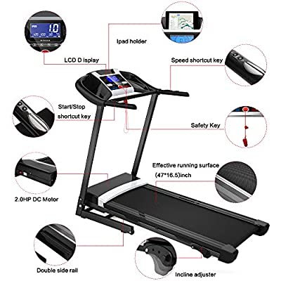 megatronia Folding Treadmill,Easy Assembly Automatic Incline Treadmill, Motorized Fitness Running Machine with 17'' Wide Tread Belt & LCD Display Perfect for Home