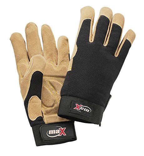 Galeton 9120101-XL-BK Max Jammer Plus Pigskin Palm Anti-Vibration Utility Work Gloves with Wrist Tabs, X-Large, Beige/Black, Polyester, Leather
