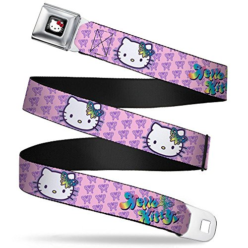 Buckle-Down Seatbelt Belt - Butterfly Bow HELLO KITTY/Butterfly Monogram Pink/Purple - 1.0