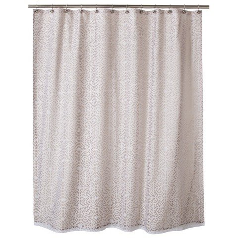 ThresholdTM Geometric Burnout Shower Curtain - Tan