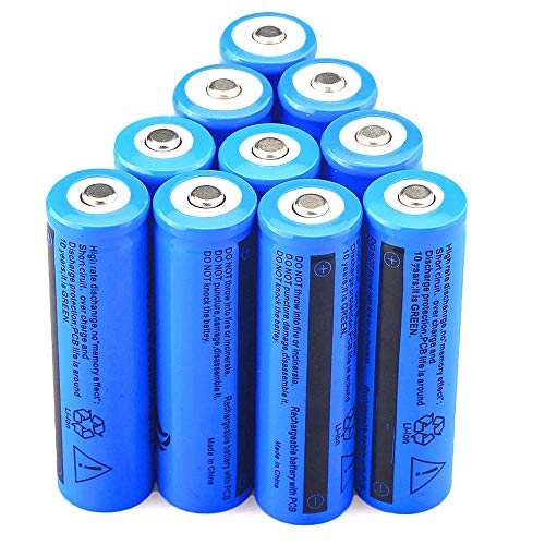 Batteries Button top 18650 Rechargeable Battery 10 pcs 3.7V 5000mAh Li-ion High-Capacity for Flashlight Torch
