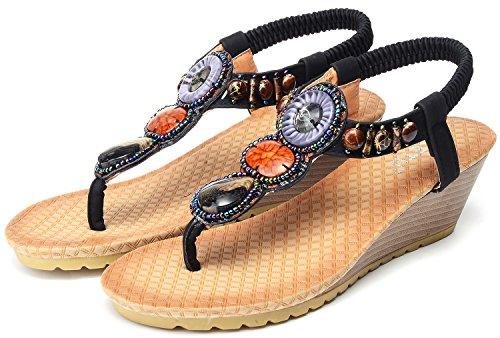 Sandalias negro Bolitas Mujer Playa Hebillas con de Estilo Odema Colores 1 de Folclóricas Cómodas Bohemio para de para con Cuña Ud8x4q1n