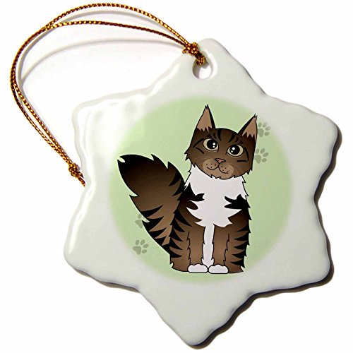 3dRose orn_35526_1 Cute Maine Coon Cartoon Cat-Brown Tabby with White-Green with Pawprint-Snowflake Ornament, Porcelain, 3-Inch