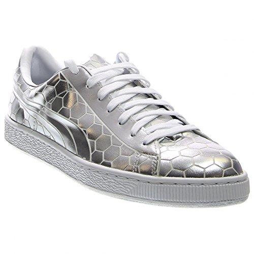 PUMA Men's Basket Classic Metallic Fashion Sneaker, Silver, 9.5 M US by PUMA (Image #7)