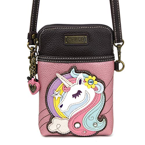 Handbag Pink Color Multi (Chala Crossbody Cell Phone Purse - Women PU Leather Multicolor Handbag with Adjustable Strap - Unicorn Glitter Pink)