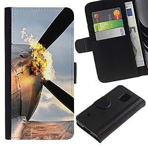 LECELL--Cuero de la tarjeta la carpeta del tirón Smartphone Slots Protección Holder For Samsung Galaxy S5 V SM-G900 -- Plano Flaming --