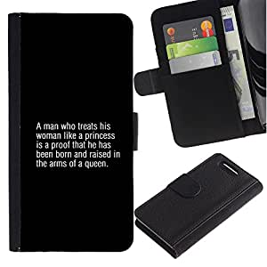 A-type (Queen Fashion Man Text Quote Truth) Colorida Impresión Funda Cuero Monedero Caja Bolsa Cubierta Caja Piel Card Slots Para Sony Sony Xperia Z1 Compact / Z1 Mini (Not Z1)