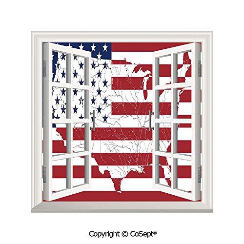 SCOXIXI Window Wall Sticker,America Continent Shaped Flag Martial International World Glory Print,3D Window View Decal Home Decor Deco Art (26.65x20 inch) ()