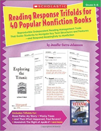 Amazon Com Reading Response Trifolds For 40 Popular Nonfiction