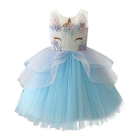 IBTOM CASTLE Fiore Ragazze Abito Principessa Cerimonia Carnevale Cosplay  Abito Tutu Blu 5-6 Anni 3c15b0f4a803