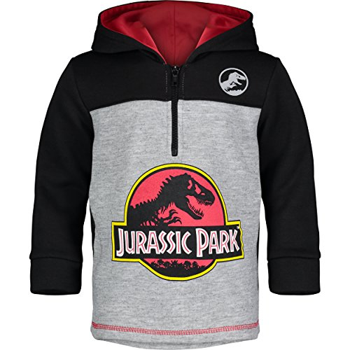 Jurassic Park Dinosaur Little Boys' Fleece Hoodie Pullover Sweatshirt w Zipper (Black/Grey, 8)