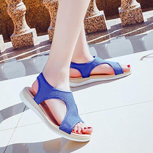 Femme Bleu SoiréE Femmes Plate Chaussures De Rome Beautyjourney Sexy Plage Chaussures Plat Sandales Sandales DéRapage Sandales Respirant Talon Sandales Anti 5HqwfX