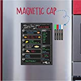 Magnetic Dry Erase Menu Board for Fridge Includes 4 Liquid Chalk Markers - Weekly Meal Planner Blackboard, Grocery List and Notepad for Kitchen Refrigerator - Chalkboard Magnet