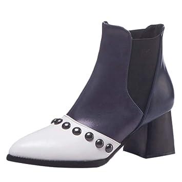 LuckyGirls Mujer Botas Cuero Color de Mezcla Patchwork Remaches Botitas Moda Botas de Nieve Calzado Zapatos con Tacón Zapatillas 6cm: Amazon.es: Deportes y ...