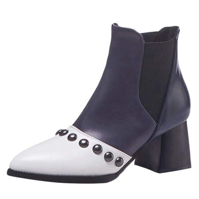 Moda Calzado Zapatos Invierno Mujer Mujer Botas tacón Alto Botas Botas de tacón  Alto con Cordones y Remaches en Punta para Mujer Retro Botas de Cuero Martin  ... f6687bd42541