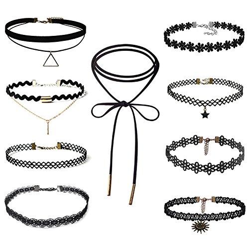 Fanmaous 9 Pcs Choker Necklace Black Velvet Choker Set Necklaces,Black