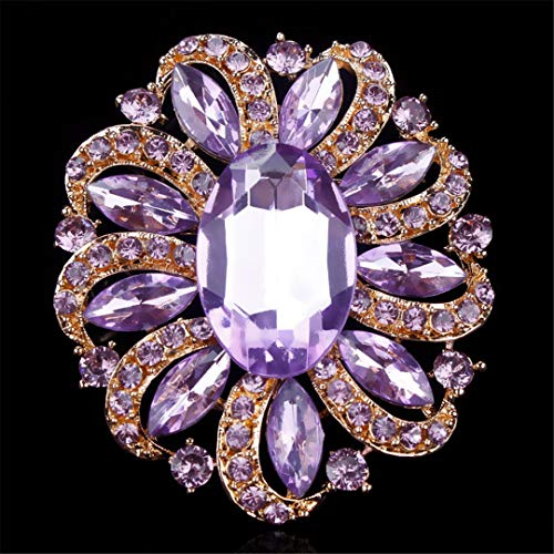 AHDUNCSIOWHG Classic Crystal Rhinestones and Large Oval Acrylic Flower Brooch Pins for Women in Purple Gold