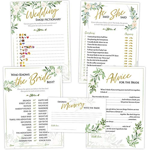 Bridal Shower Games (Set of 5 Activities for 50 Guests) - 5x7 Cards, Floral Rustic Greenery Theme - Includes Marriage Advice Cards, Bridal Emoji - Wedding Shower Decorations Favors Party Supplies