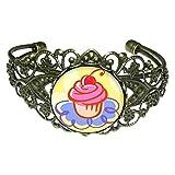 GiftJewelryShop Bronze Retro Style Food Cupcake Flower Cuff Bangle Bracelet Fashion Jewelry Bracelets