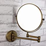 Sprinkle Novelty Design 360 Degree Rotating 2X Magnifying Antique Inspired Solid Brass Plating Finished 8-inch Solid Brass Wall Mount Cosmetic Mirror Lavatory Home Decor Bath Shower Improvement