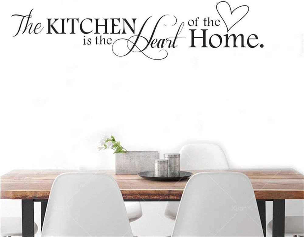 The Kitchen is The Heart of The Home Quotes Lettering Sticker Wall Decals Removable Vinyl Art Mural Home Decor Wall Stickers,Black