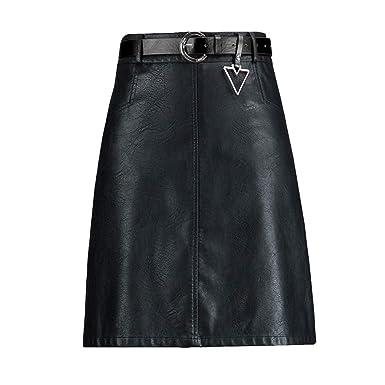 E-Girl ED3376 - Falda de Piel sintética para Mujer, Cintura Alta ...