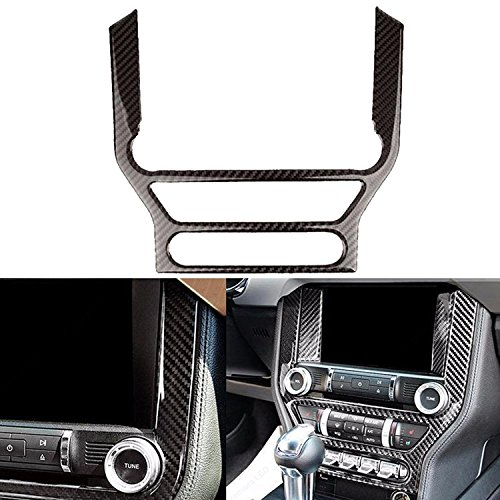 Ford Mustang Interior Accessories - Car Interior Trim Carbon Fiber Multi-media Control Panel Sticker For Ford Mustang 2015-2017