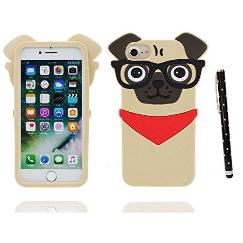 Coque iPhone 7, iPhone 7 étui Cover, [ TPU flexible 3D Bouledogue chien pug ] iPhone 7 Case Shell 4.7 pouces, Pug Dog anti-chocs, des empreintes digitales & stylet
