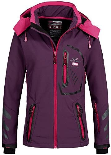 Geographical Norway Tsedaka - Chaqueta softshell para mujer, capucha desmontable y ligeramente forrada