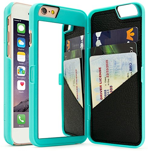 "iPhone 6 Plus / 6s Plus Case, Bastex Hidden Back Wallet Mirror Case with Stand Feature and Card Holder for Apple iPhone 6 Plus, 6S Plus 5.5"" - Teal"