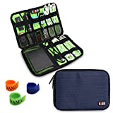 BUBM Electronics Organizer, Travel Gadget Bag for Cables, USB Drive Shuttle, External Hard Drive, Plug and More (Medium-Dark Blue)