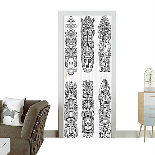 Homesonne 3D Photo Door Murals Abstract Mesoamerican Religi Aztec Totem ES Ceremial Old Tradition Easy to Clean and applyW31 x H79 INCH