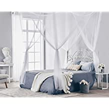 Truedays Four Corner Post Bed Princess Canopy Mosquito Net Full Netting, Queen Size