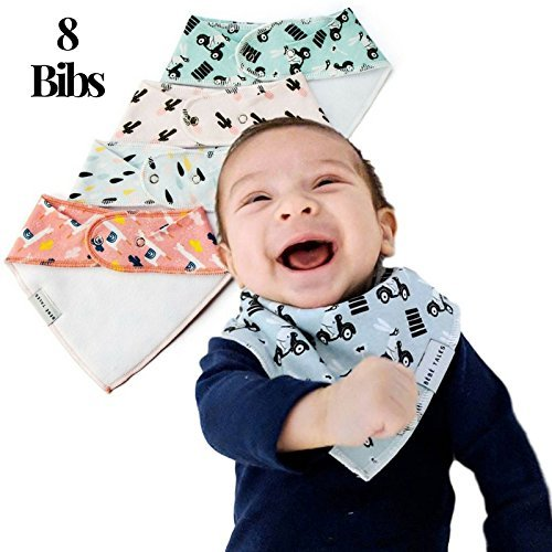 Premium Bandana Bibs Extra Soft - 8-Pack Natural Cotton Baby Drool Bib for Drooling and Teething, Hypoallergenic, Super Absorbent, Designs for Baby Girls Boys Toddler, Baby Shower Gift by BebeTales (Image #2)