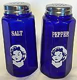 Salt & Pepper Shaker Set - Paneled Pattern - Cobalt Blue Glass - Mosser Glass - American Made (Shirley Temple)
